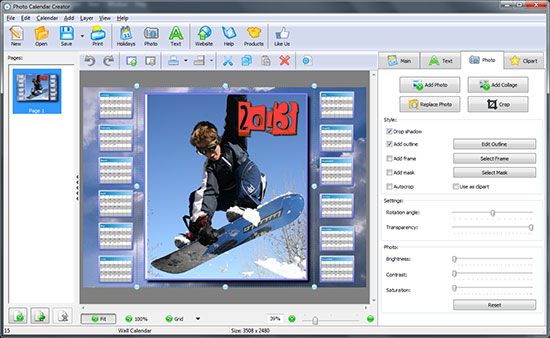 Professional photo calendar software